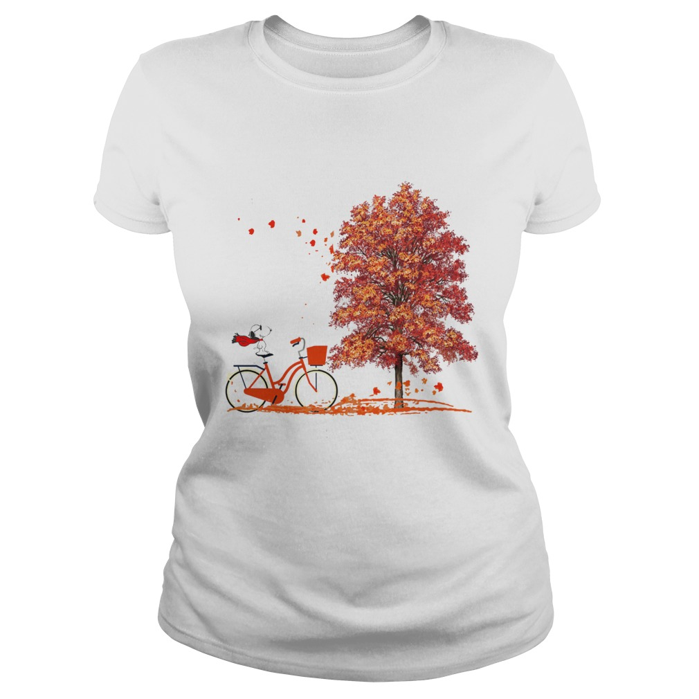 Snoopy Riding A Bicycle Hello Autumn Classic Ladies