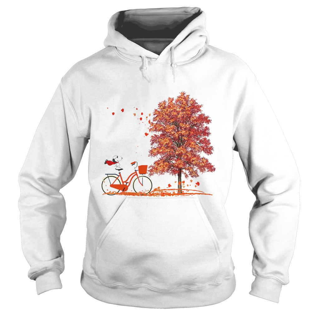 Snoopy Riding A Bicycle Hello Autumn  Hoodie