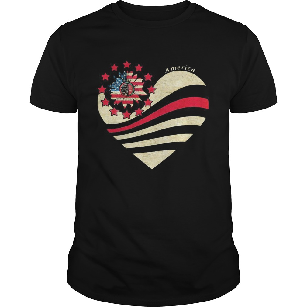 Sunflower Heart American Flag Independence Day  Unisex