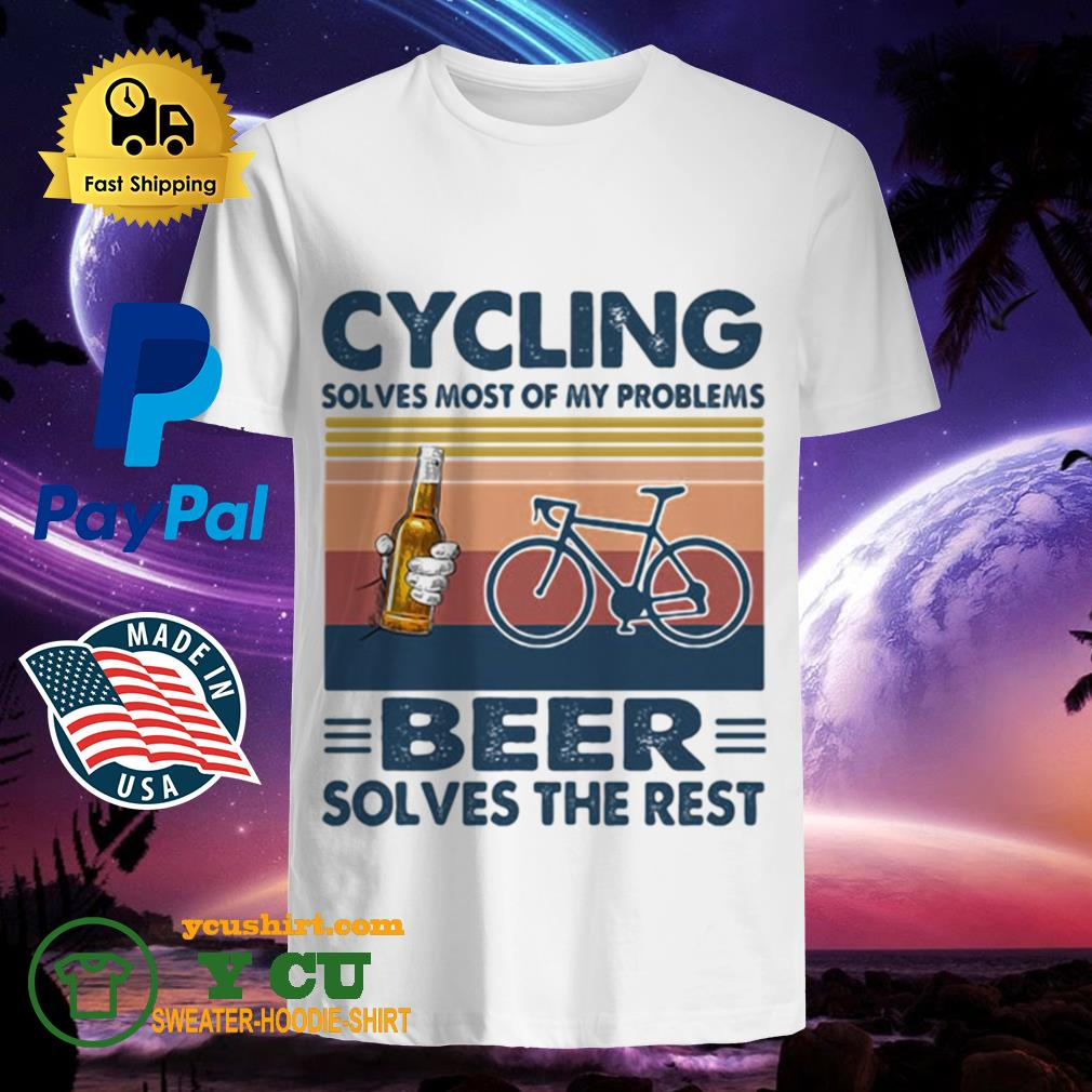 Cycling solves most of my problems beer solves the rest vintage retro shirt