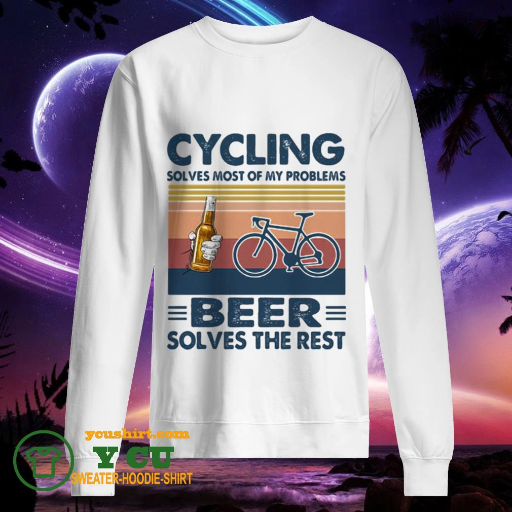 Cycling solves most of my problems beer solves the rest vintage retro sweater