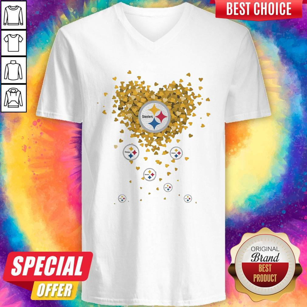 Love Pittsburgh Steelers Football Hearts V-neck