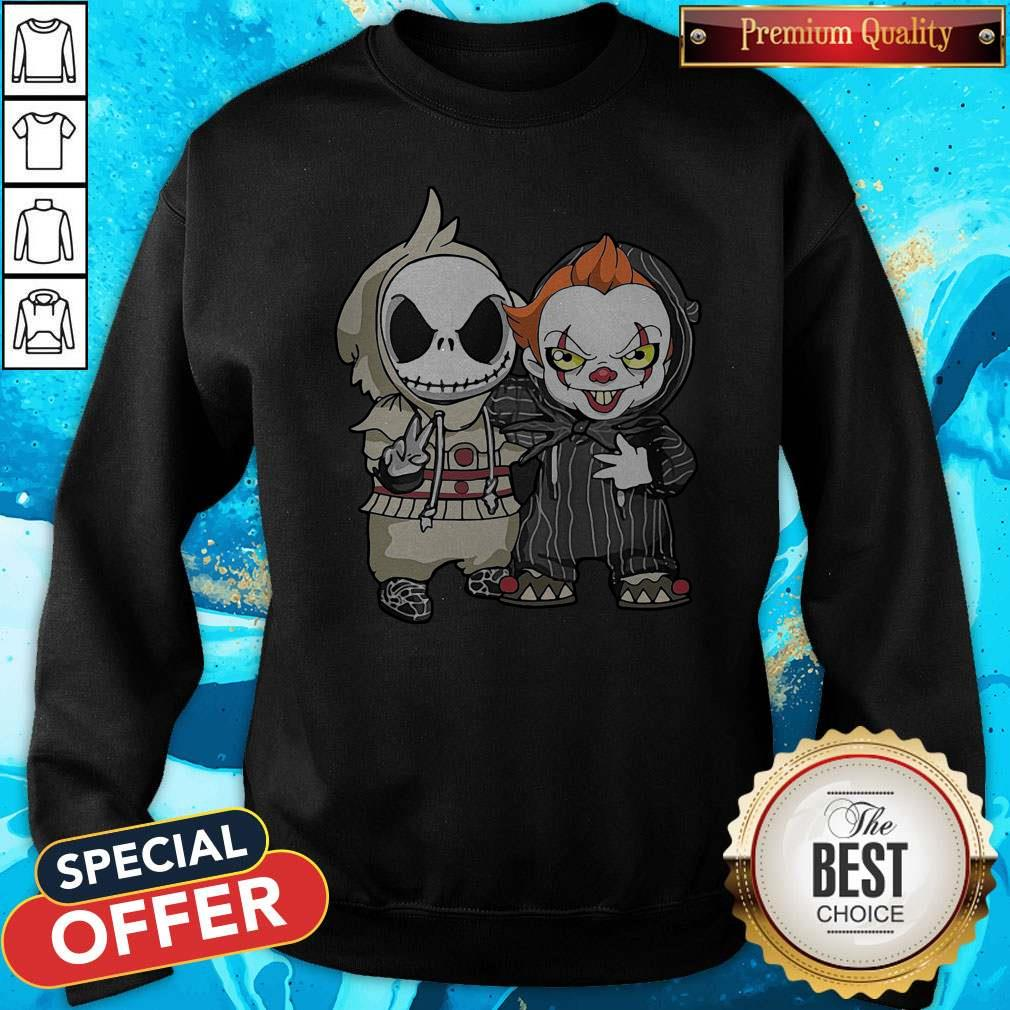 Cute Jack Skellington And Pennywise Friend Happy Halloween Shirt Hoodie Sweater Long Sleeve And Tank Top