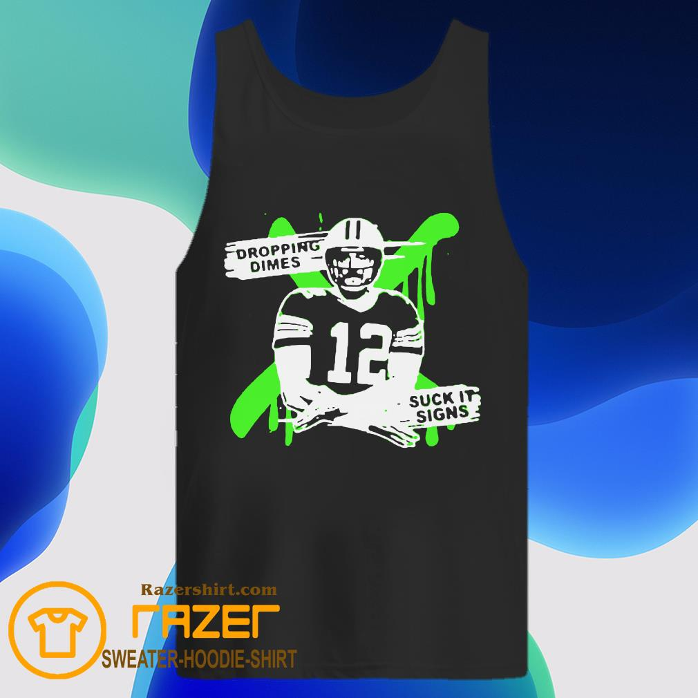 Aaron Rodgers 12 Dropping Dimes Suck It Signs Tank Top